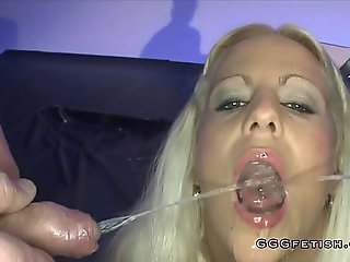 Slut gets mouth fucking with cumshot