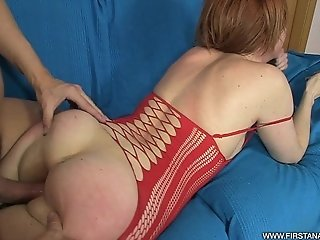 FirstAnalQuest.com - ANAL TRAINING OF A GORGEOUS REDHEAD IN RED LINGERIE