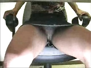 Dripping wet pussy under the desk