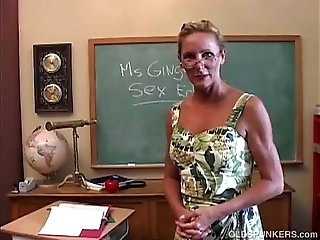 Horny mature teacher fucks her pussy and sucks cock
